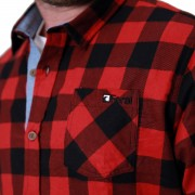 Feral Classic Check Shirt – Red & Black – Close-Up