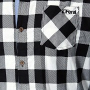 Feral Classic Check Shirt – White & Black – Close-Up