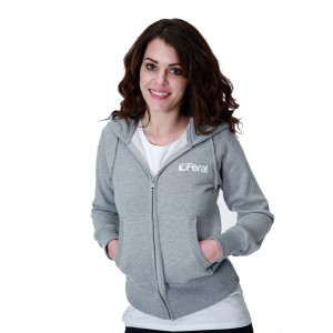 Feral Classic Zip-Up Hoody - Light Heather - Womens
