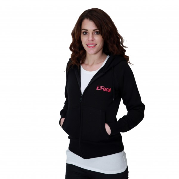 Feral Coral Zip-Up Hoody – Black – Womens